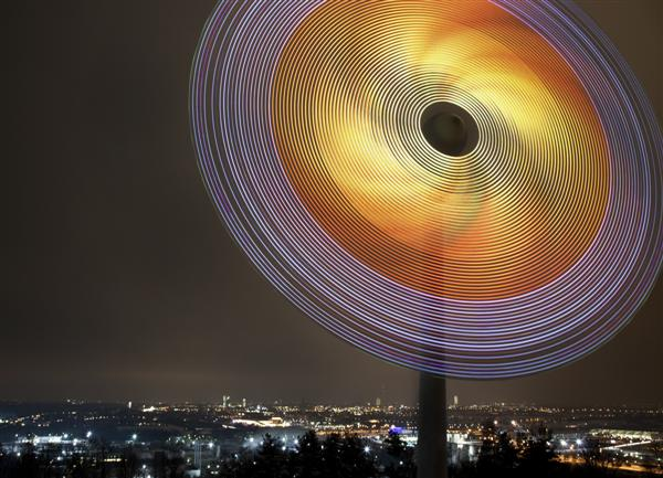Wind turbine covered in LEDs