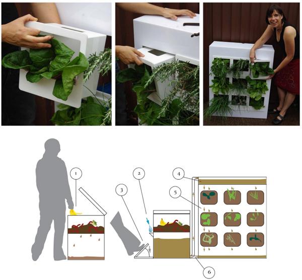 Apartment-sized vertical herb garden