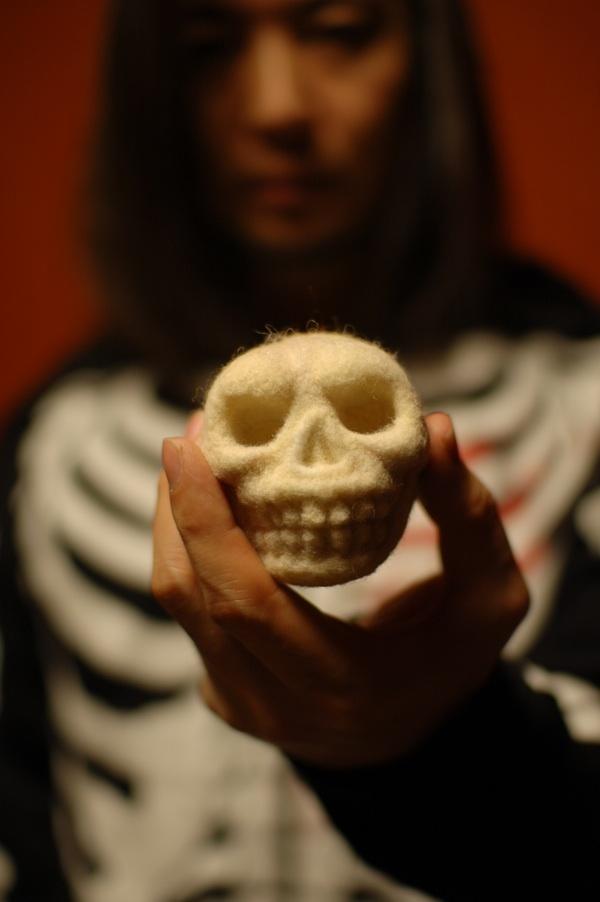 Gorgeous little needle-felted skull