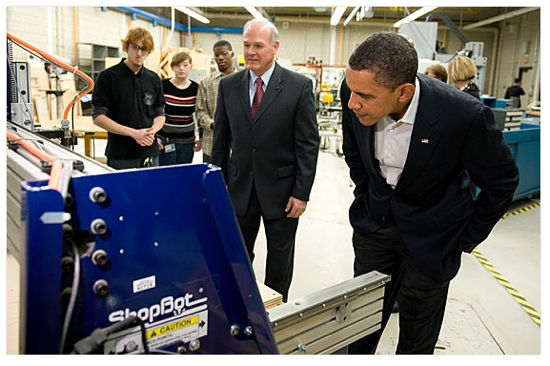 President checking out a ShopBot