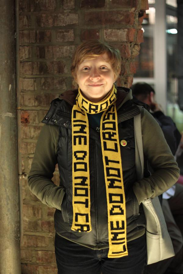 In the Makers Market:  Police tape scarf