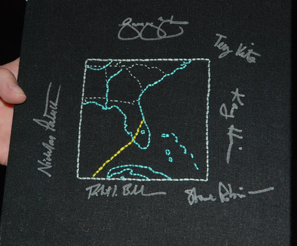 Embroidered deorbit map a big hit with STS-130 crew
