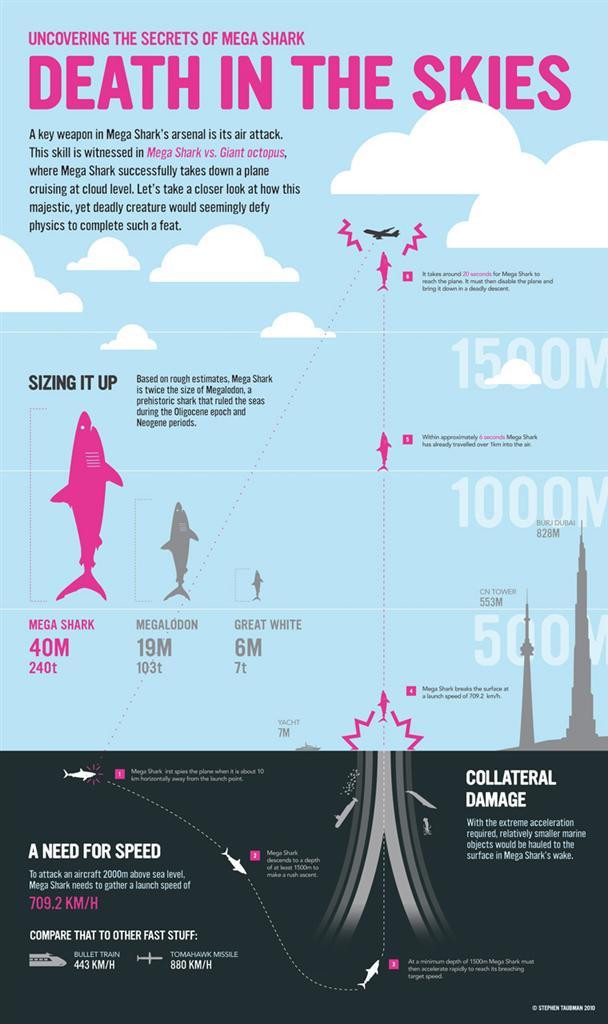 Fiction science:  Aliens, Predator, and Mega Shark infographics