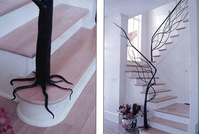 Beautiful staircase railing looks like a tree