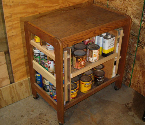Microwave cart turned painting station