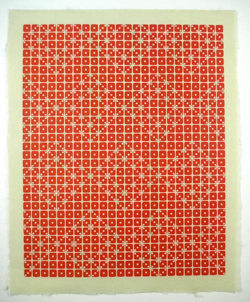 "Letterpress prints using dice as ""type"""