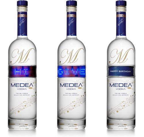 Programmable scrolling LED vodka label