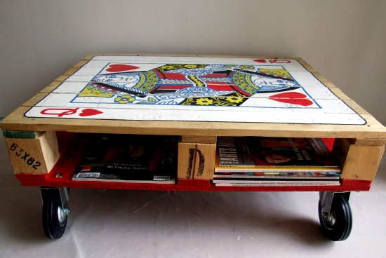 Beautiful hand-painted shipping pallet coffee table