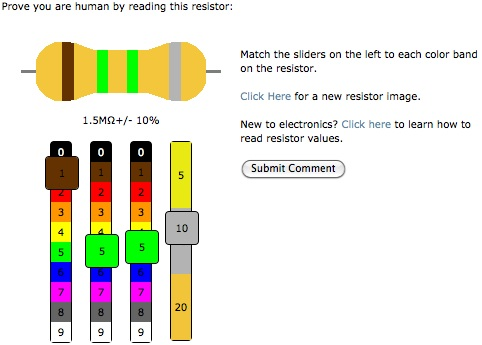 "Open source resistor ""CAPTCHA"" learning – commenting plugin for WordPress"