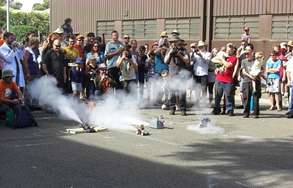Rocket powered car races!