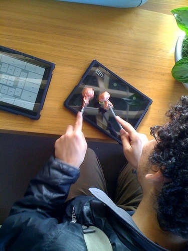 iPad steel drum with conductive mallets