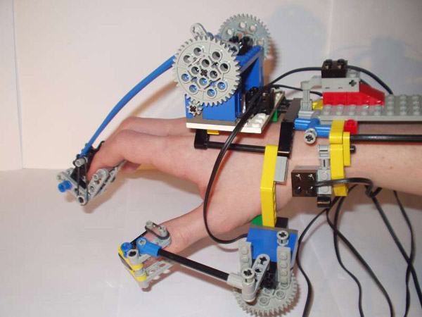 Lego RC hand with exoskeletal controller