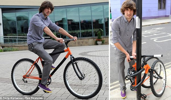 Designer wraps bike around pole to secure it