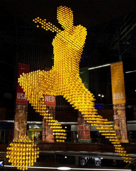 Giant voxel soccer ball sculpture
