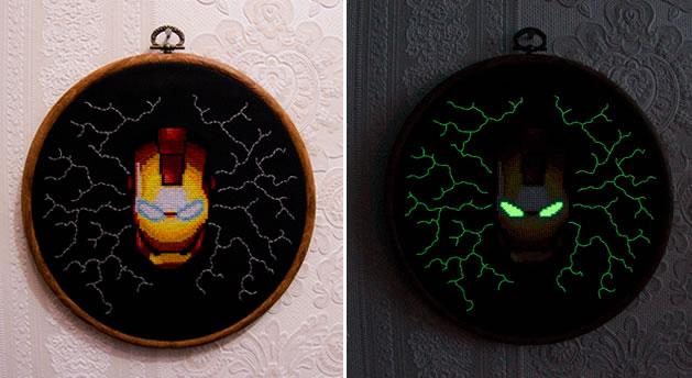 GITD Iron Man cross-stitch