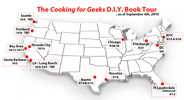 Cooking for Geeks DIY book tour starts Wednesday 9/8/2010 at HacDC