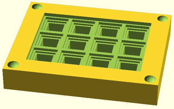 Printable molds for casting monolithic button arrays of any size
