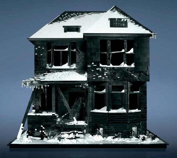 Lego model of an abandoned house