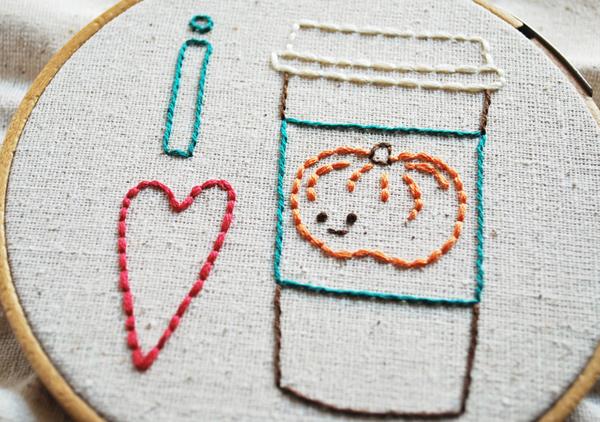 """""""I Heart Pumpkin Spice Latte"""" Embroidery Pattern"""