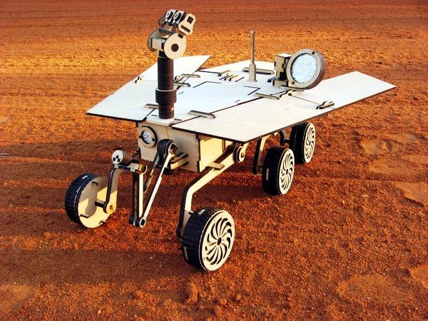 Impressive laser-cut wooden Mars rover model