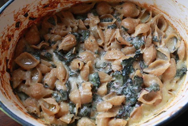 Gluten-Free Thanksgiving Side Dishes: Shells & Cheese with Browned Butter and Swiss Chard