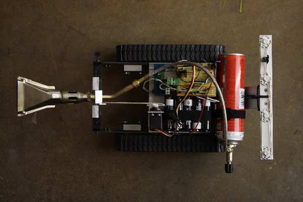 Flame-throwing robot draws on your lawn