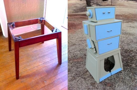 Sweet robot dresser built from junk table