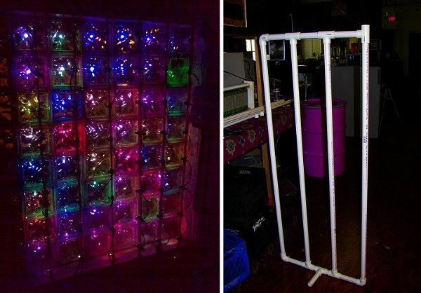 Glass block LED display at Hive 13