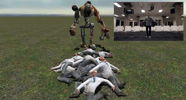 Kinect + Open Drivers + Physics Engine = Piles of Kickable Corpses
