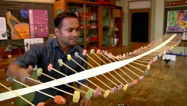 Wave Machine From Tape, Toothpicks, and Gummy Bears
