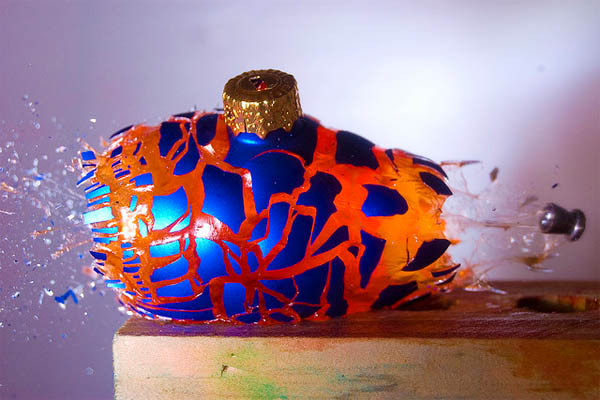 An Airgun Pellet Shattering A Jello-Filled Xmas Ornament…