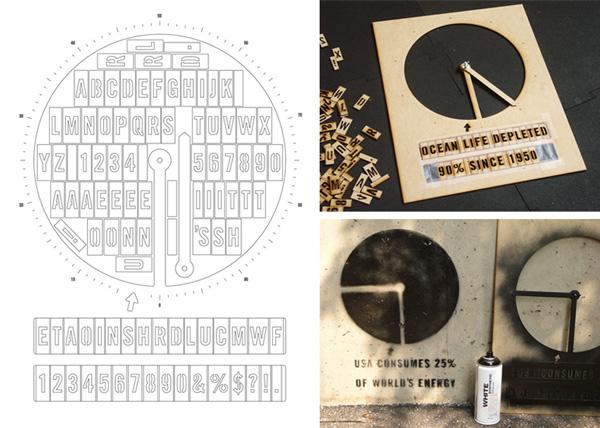 Laser Cut a Stencil for Adjustable Infographic Graffiti