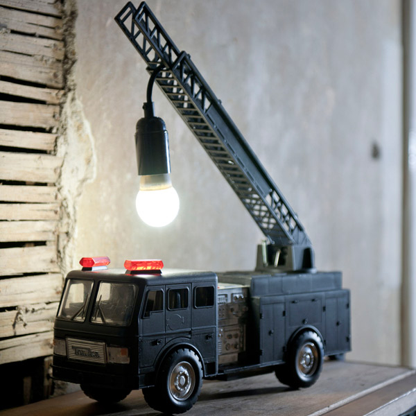 Toy Fire Truck Transformed into a Lamp