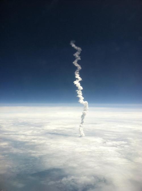 Last Shuttle Launch as Seen from a Plane Window