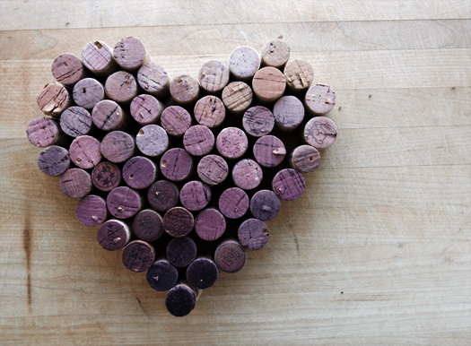 Heart-Shaped Wine Cork Trivet, with Gradient Stains