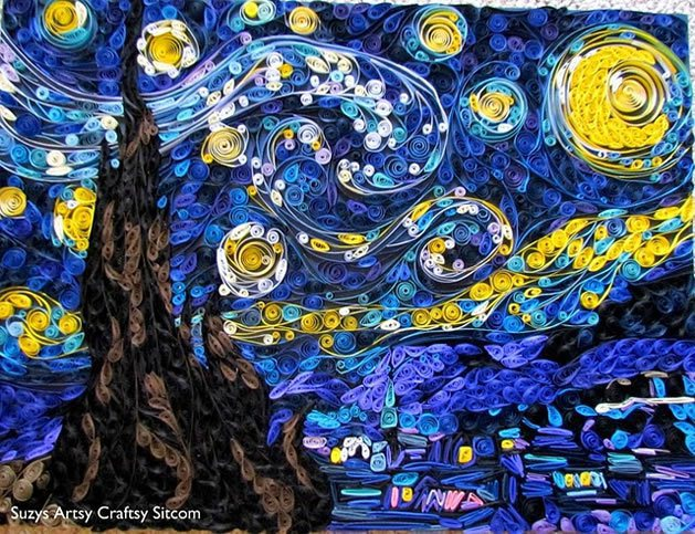 Quilled Starry Night