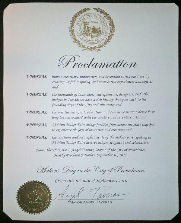 Mayor Angel Taveras declares September 10 Makers' Day in Providence, RI