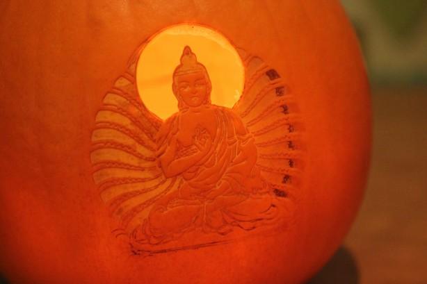 Laser-etched Pumpkin