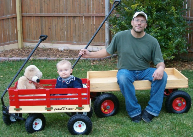 Dad and Kid Wooden Wagons