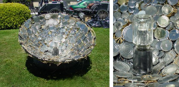 Solar Heater From Can Lids and Woven Plants