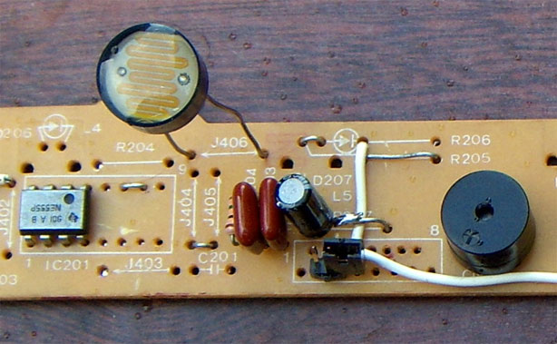 Light Theremin on Upcycled Dot Matrix Printer Board