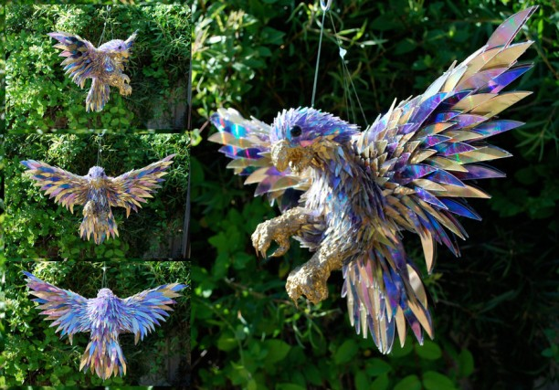 Falcon Sculpted From CD Fragments
