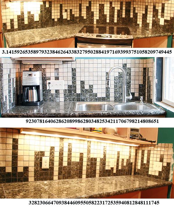Kitchen Backsplash Counts out 159 Digits of Pi