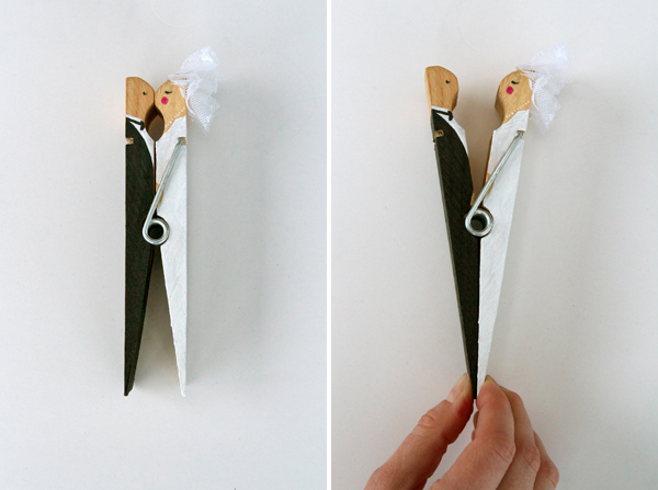 How-To: Kissing Clothespin Wedding Cake Topper