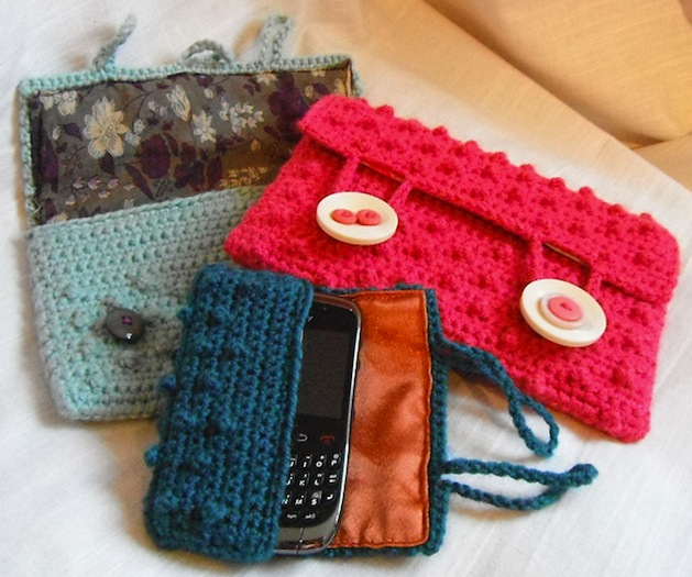Crocheted Bobble Stitch Electronics Cases