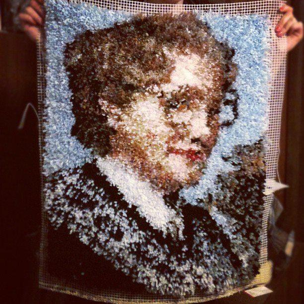 Latch Hooked Mrs. Doubtfire Rug
