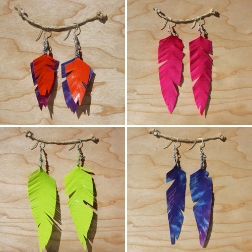 How-To: Neon Duct Tape Feather Earrings