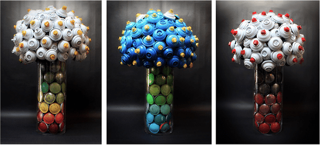 Floral Sculptures Made From Spray Paint Cans