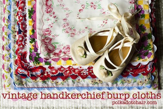 How-To: Vintage Hankie Burp Cloths
