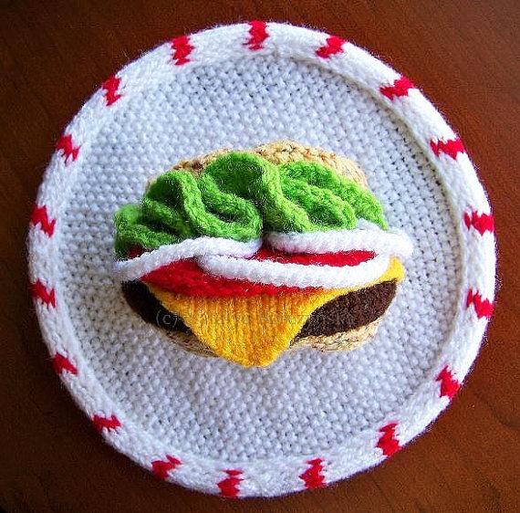 Knitted Hamburger Wall Art